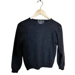 BARBOUR Sweater Charcoal Gray Lambswool Small EUC